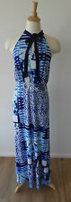 Charlie Brown Blue White Tie Die Print Pussy Bow Sleeveless Stretch Maxi Dress L