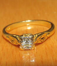 BEUTIFUL SECONDHAND  18ct YELLOW GOLD DIAMOND SOLITAIRE  RING SIZE L