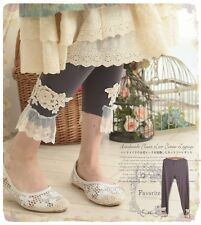 Stretch Leggings Japanese Sweet Lace Basic Pants Lolita Princess Mori Girl #ER-7