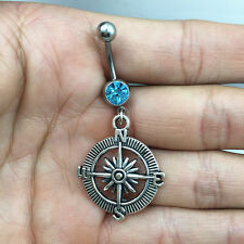 Steel Compass Lake blue Crystal Navel Belly Button Ring Body Piercing Jewelry !