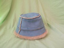 Women's United Colors of Benetton Blue Bucket Hat with Beige Fur Lining EUC!!!