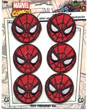 SPIDERMAN round mask 6 MINI EMBROIDERED IRON-ON PATCH SET spider-man pmvl39s