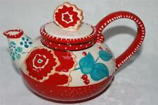 Blue Sky Heather Goldminc Cambria Chic Floral Coffee Teapot - Red Cream & Blue