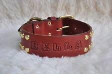 "Extra Wide & Long Leather Large  Dog Custom Collar Personalized 2"" Wide w/ Spots"