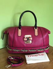 Guess Ellese Dark Pink Box Satchel Handbag Crossbody Bag