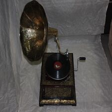 MUSICAL DEALS  Vintage Original Octagonal Gramophone WITH HORN+FREE SHIPPING