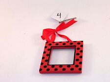 Red & Black Dots Wood Valentines Day Sign Ornament Decoration Gift Party