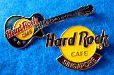SINGAPORE BLACK GIBSON GUITAR & CLASSIC ORANGE HRC LOGO Hard Rock Cafe PIN SET