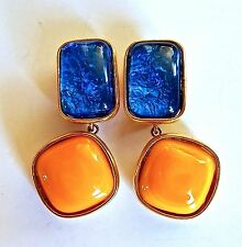 VINTAGE  Dominique Aurientis Designer Blue / Orange Cabochon EARRINGS - Signed