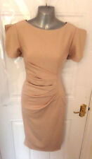 ❤ GODDESS LONDON Gorgeous Ladies Size 12 Nude Stretchy Ruched Dress Back Zip