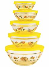 Glass Bowl Set with Lids Food Storage Containers 10 Pieces Yellow
