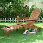 New Outdoor Foldable Wood Adirondack Chair Patio Deck Garden w/ Pull-out ottoman