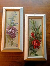 2 Vintage Turner Wall Accessory Prints Pansies Roses White Speckled Gold Frames