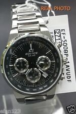 EF-500BP-1A Black Casio Stainless Steel Band Watch Edifice 100M Date Day Analog