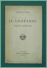 Albini LEOPARDI CENTO ANNI FA Zanichelli 1917