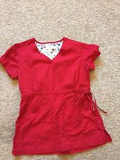 GOOD USED CONDITION Women's Red KOI BY KATHY PETERSON Scrub Top Size Small