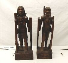 Vtg Hand Carved Wood Bookend Statue Igorot Philippines Hunter Warrior Tribal Set