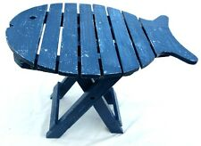 Wooden folding fish shaped table with distressed finish