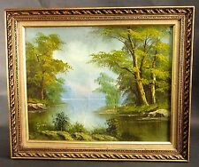 "Vintage Detailed Signed ""Lyons"" Framed Oil Painting Woods Trees Lake River"