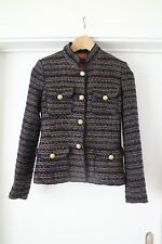 ZARA Jacke Tweed grey navy sparkle Jacket Blazer Jacke Tweed Bouclé ASO - XS