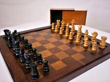 ANTIQUE ENGLISH CHESS SET K 62 mm + ANTIQUE NORTHERN EUROPE  GAMES BOARD