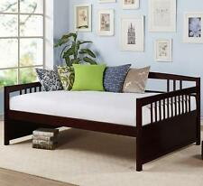 Full Size Daybed Wood Espresso Finish Frame Day Bed Wooden Sofa Platform Sleeper
