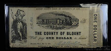 Obsolete Bank Note $1 One Dollar 12/16/1862 Blount County Maryville Tennessee TN