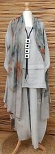 LAGENLOOK BEAUTIFUL 3 PCS OVERSIZED SHAWL+TUNIC+TROUSERS*GREY*BUST UP TO 48""