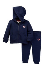 NEW TRUE RELIGION BABY BOYS 2PC BLUE HOODIE SWEATPANTS JOG TRACKSUIT SET 12M