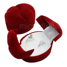 nw Velvet Double Ring Bearer Box Wedding Engagement Present Display Case Red