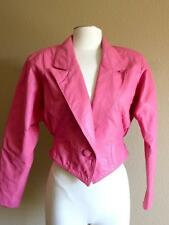 Vintage 1980's pink leather new wave era cropped Chia jacket S