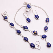925 Sterling Silver Overlay Ring Earrings Bracelet Necklace Set Jewelry PS107