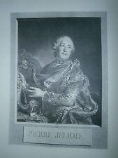Planche gravure Portrait de Pierre Jelyote de l'opéra D'aprés Tocqué