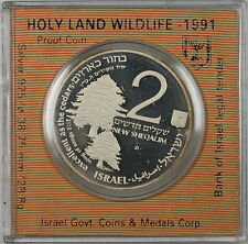 1991 Israel 2 New Sheqalim Silver Proof Holy Land Wildlife Commem Coin in Case