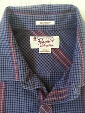 Penguin Button Down Classic Fit Shirt Purple w/Red Stripes, Men's Size L