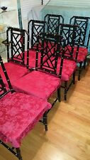 """VINTAGE SET OF 8 FAUX BAMBOO CHINESE CHIPPENDALE CHAIRS LARGE SEATS 19"""" BY 22""""!!"""