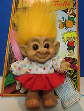 "RED HEADED GIRL IN DRESS - 4"" Forest Troll Doll - NEW ON CARD"