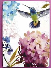 SWAP CARD. HUMMINGBIRD & HYDRANGEA FLOWERS DESIGN. ARTIST LISA AUDIT. WIDE. MINT