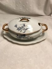 Vintage Mustard Condiment Tureen with Lid Blue White Gold Japan Numbered