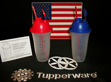 Tupperware RED WHITE BLUE Quick Shake smoothie blender ~pancake batter ~pudding
