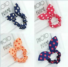 10pcs Rabbit Bunny Ear Polka Dot Hair Band Scrunchie Elastic Ponytail Holder