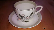 Vintage Crown Devon Fieldings Ivory Queen Cup and Saucer Pale rose green cream