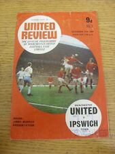11/10/1969 Manchester United v Ipswich Town  (Creased, Worn, Match Notes On Cove