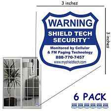 6 BACK ADHESIVE DECALS FOR SLIDING GLASS DOORS ALARM SYSTEM STICKERS PK B