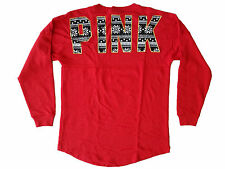 Victoria's Secret PINK Bling Varsity Crew Pullover Holiday Red Small