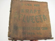 1-F OLD VINTAGE WOOD-WOODEN KRAFT VALVEETA PROCESS CHEESE DAIRY BOX CRATE