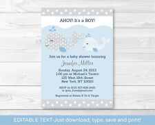 Mod Whale Printable Baby Shower Invitation Editable PDF