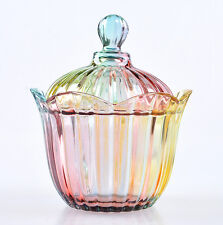 Vintage Colorful Flower Glass Candy Jar Sweets Storage Bowl With Lid Party Kit