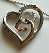 Jane Seymour Open Hearts Necklace, Sterling Silver & 10K Rose Gold, Dia. Accents