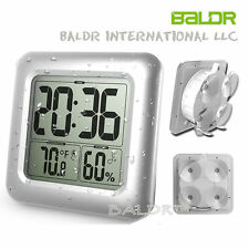 Digital Baldr Waterproof Shower Bathroom Wall Clock Kitchen Temperature Mirror